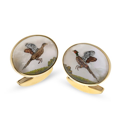 18k Gold Handpainted Flying Pheasant Crystal Cufflinks
