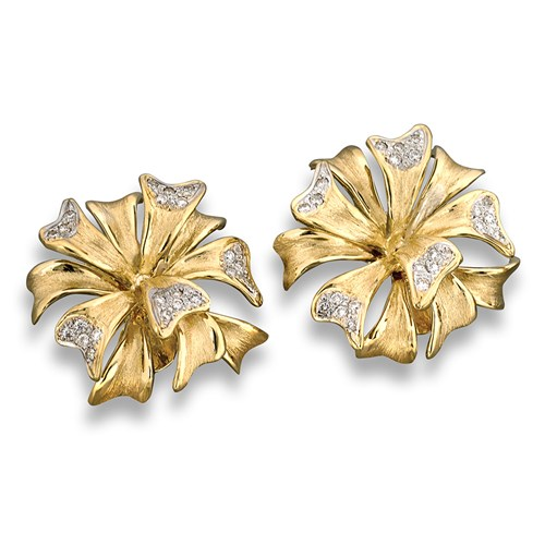 Gold & Diamond Bow Spray Earrings, Clips