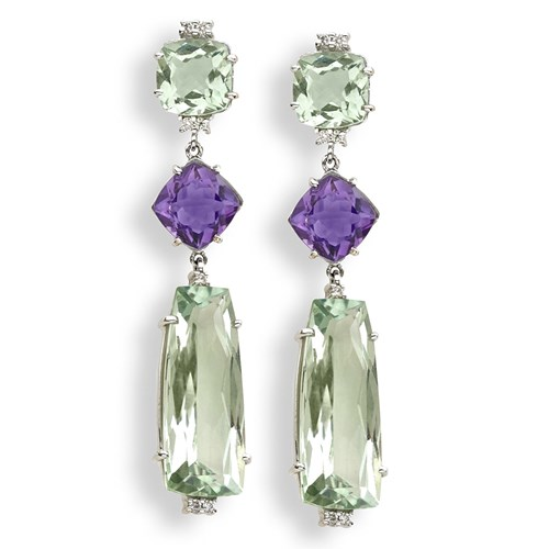 18K White Gold Prasiolite Drop Amethyst Earrings, Clips