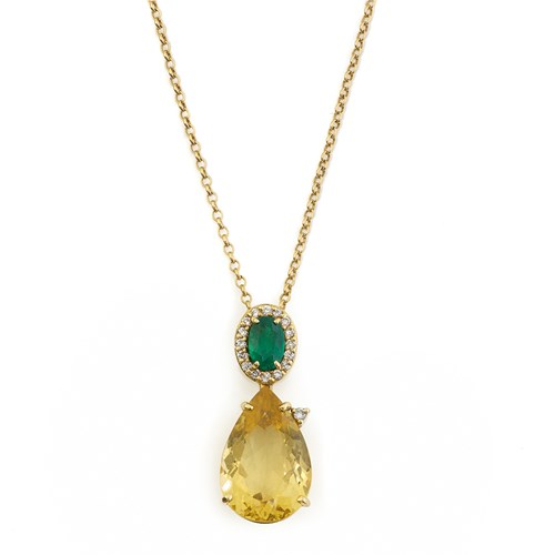 18k Gold Emerald & Yellow Beryl Necklace