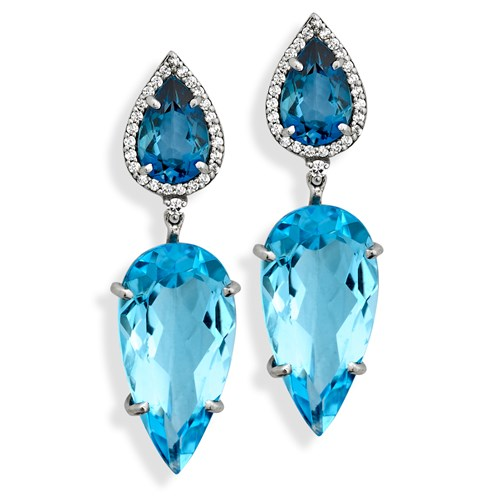 18k White Gold London Blue and Blue Topaz Earrings, Posts