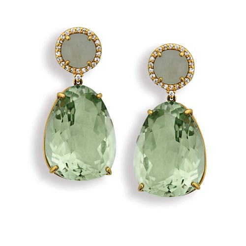 18k Yellow Gold Aquamarine Prasiolite Brazilian Drop Earrings, Clips