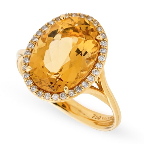 18k Yellow Gold Citrine & Halo Diamonds Ring