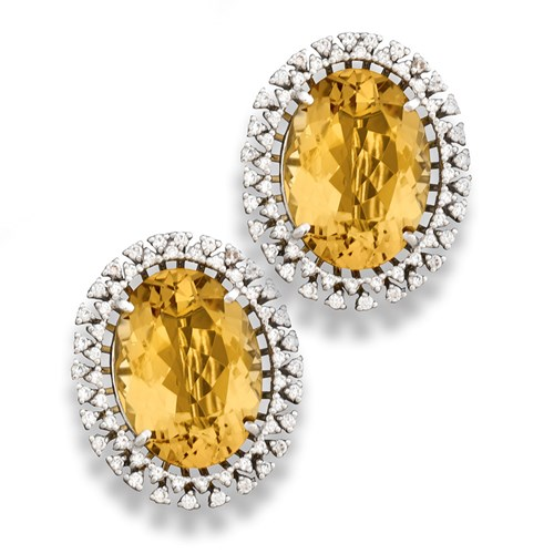 18k White Gold Yellow Beryl Earrings, Clips