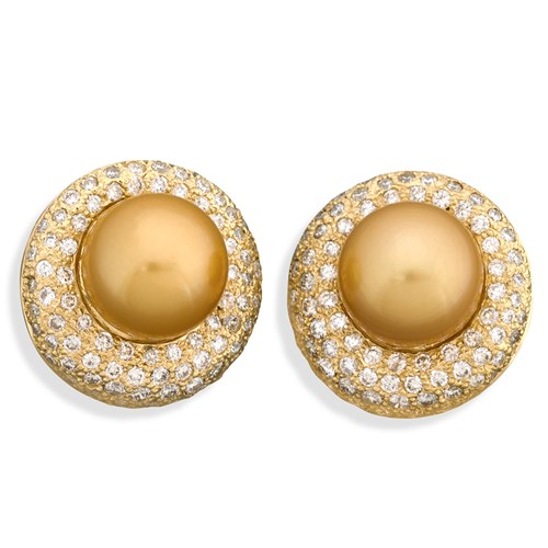18k Golden South Sea Pearl Earrings with Diamonds, Clips
