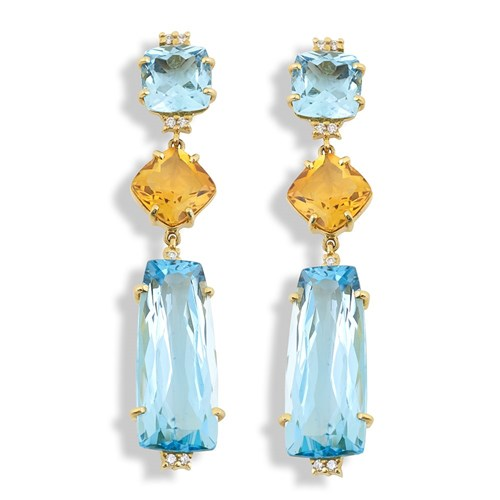 18K Yellow Gold Blue Topaz & Citrine Drop Earrings, Posts