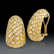 18k Gold & Diamond Interwoven Earrings