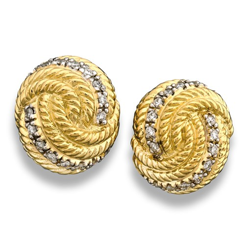 18k Gold Twist Rope Swirl Earrings