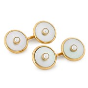 18k Gold Mother of Pearl Cufflinks & Studs with Pearl Centers