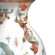 Herend Vase with Dolphin Handles
