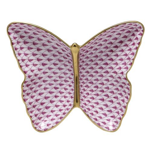 Herend Butterfly Dish, Raspberry