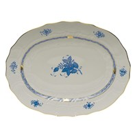 Herend Chinese Bouquet Blue Oval Platter, Large