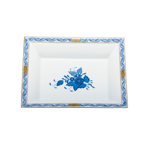 Herend Jewelry Tray, Chinese Bouquet Blue