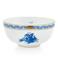 Herend Chinese Bouquet Blue Bowl, Medium