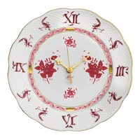 Herend Chinese Bouquet Raspberry Wall Clock