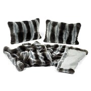 Faux Fur Chinchilla Bed Runner and Pillow Set
