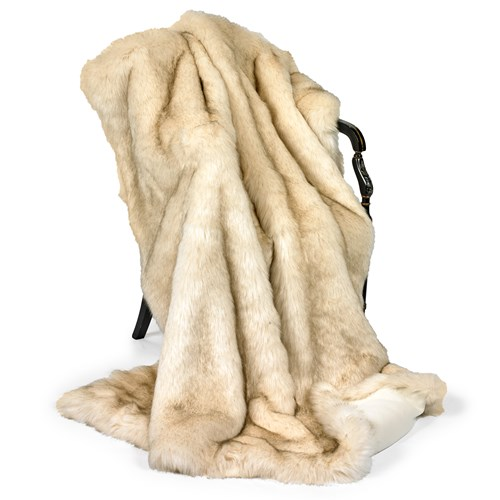 Faux Fur Cream Milano Australian Geelong Wool Throw