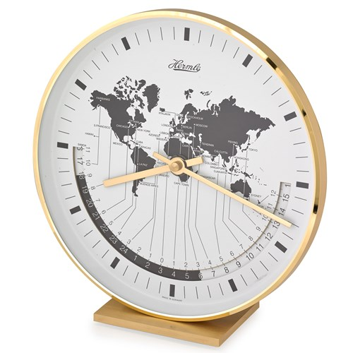World Brass Table Clock