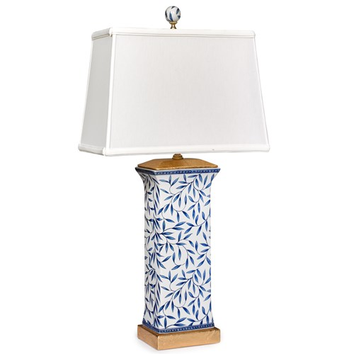 Blue & White Leaves Rectangular Lamp