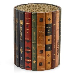 Leather Books Round Wastebasket