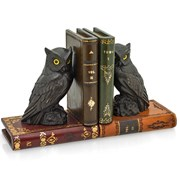 Leather Books Bookends with Owls