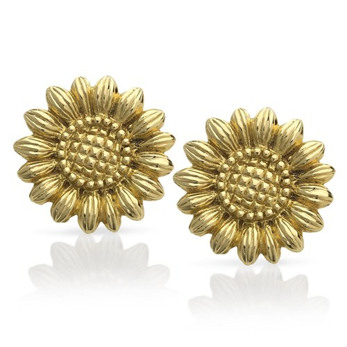 18k Gold Sunflower Earrings, Clips