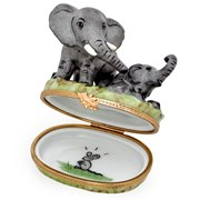 Elephant with Baby Limoges Box