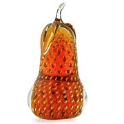 Crystal Pear Sculpture, Amber & Gold