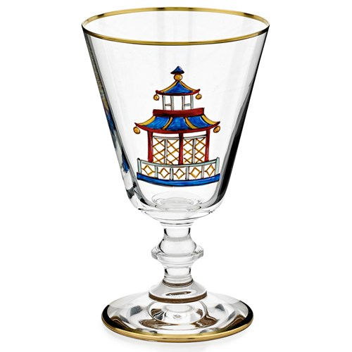 Chinoiserie Gold Water Glass