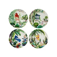 Gien Jardins Extraordinaires Bread & Butter / Canape Plate, Set of Four