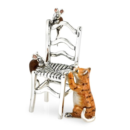 Sterling Silver & Enamel Cat & Mice with Chair