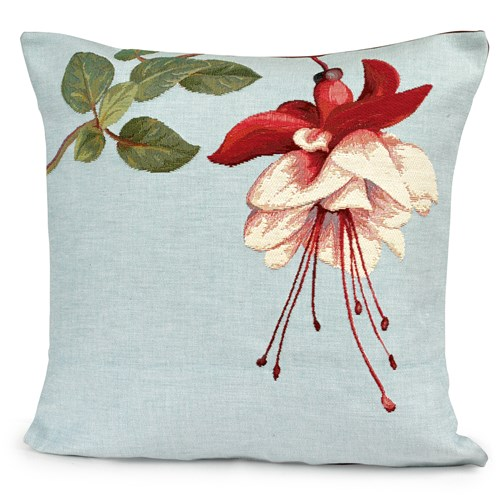 One Fuchsia on Blue Tapestry Pillow