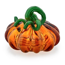 Crystal Pumpkin Sculptures, Amber & Green