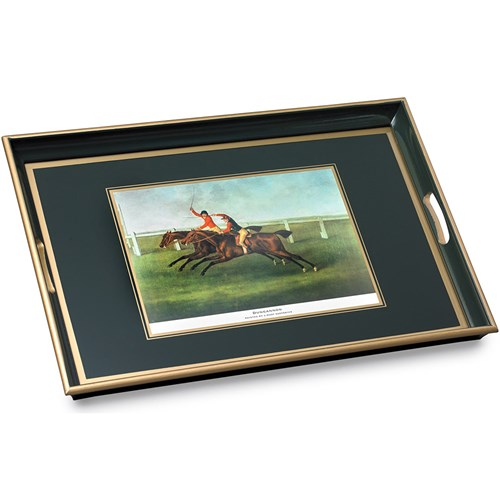 Large Dungannon Racehorse Glass Tray, Green
