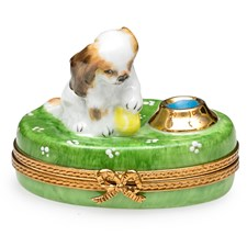 Spaniel Puppy with Ball & Bowl of Water Limoges Box