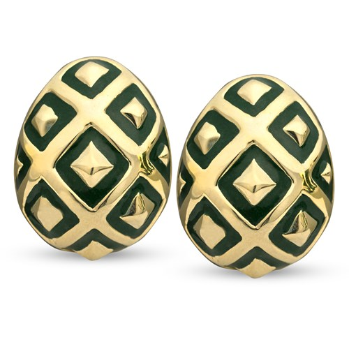 18k Gold Green Ornament Earrings, Posts