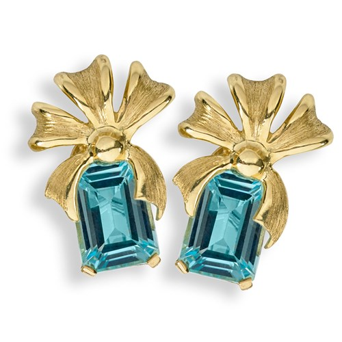 18K Yellow Gold Ribbons with Blue Topaz Earrings, Clips