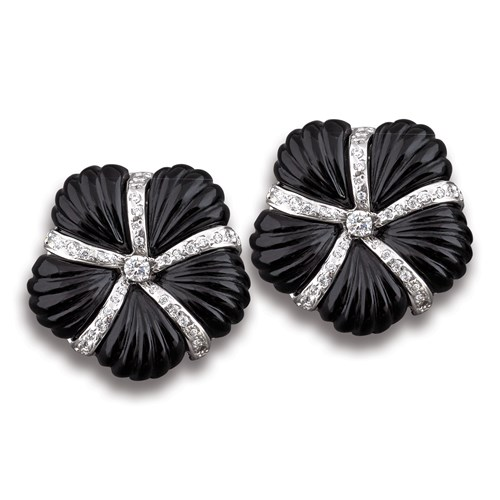 Black Onyx Flower Earrings, Clips