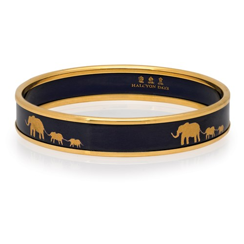 Halcyon Days Elephant Family on Navy Motif Bangle, Small