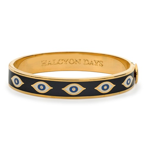 Halcyon Days Evil Eye Hinged Bangle, Midnight Blue & Gold