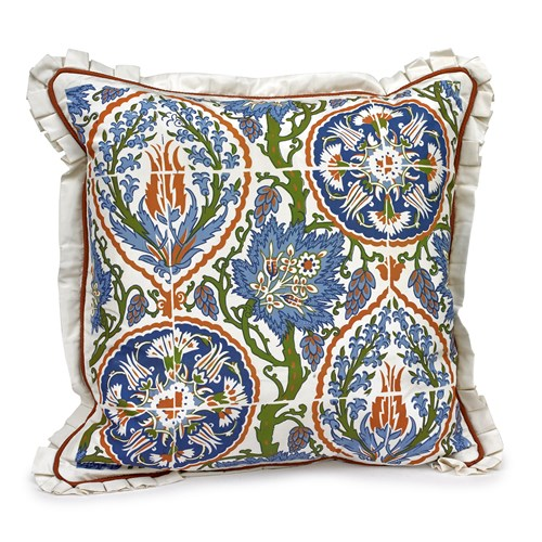 Handpainted Majolica Tile Silk Pillow, Design A