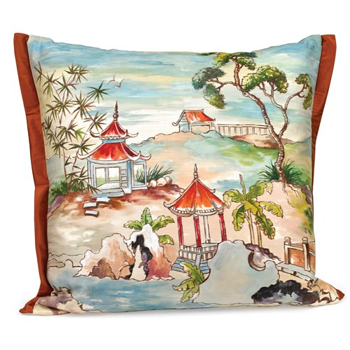 Pagoda Silk Pillow, Design B