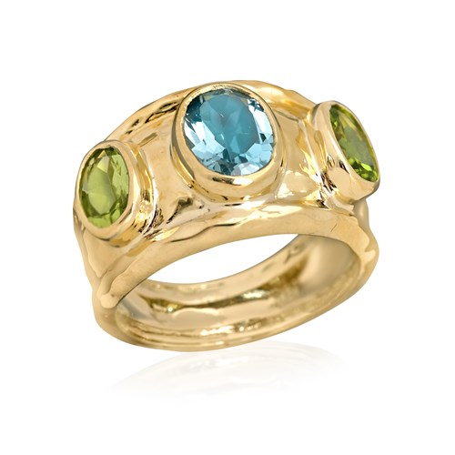 18k Yellow Gold Topaz & Peridot Ring