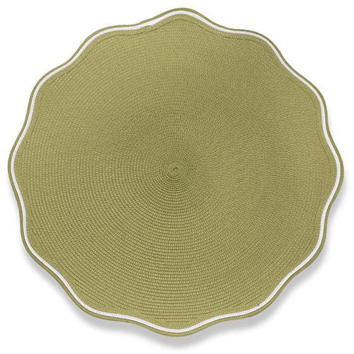 White Trim Round Scalloped Braided Placemat, Moss Canary