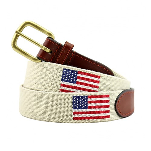 American Flag Khaki Needlepoint Belt, Size 28
