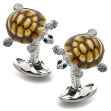 Sterling Silver Walking Tortoise Shell Cufflinks