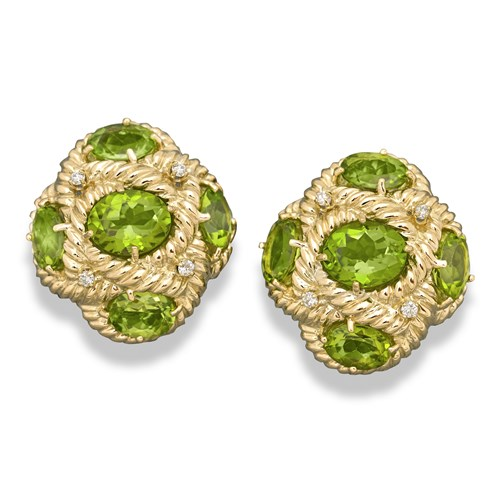 18k Gold Peridot Weave Earrings, Clips