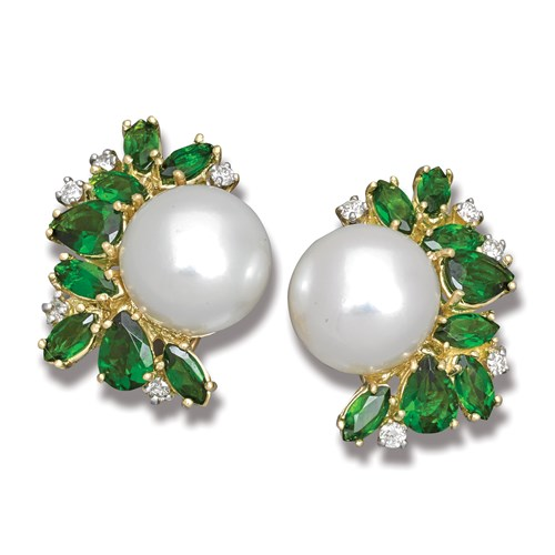 Chrome Diopside, Diamond and Pearl Spray Earrings, Clips