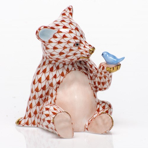 Herend Bear with Bird, Rust with Blue Bird Wash