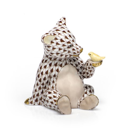 Herend Bear with Bird, Chocolate with Butterscotch Bird Wash